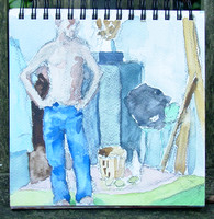 Standing man blues watercolor 8 x 8