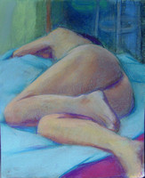 Victoria lying on blue cloth 14 x 17 on paper