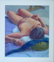 Nude on blue, reclining, on paper, 22 x 28 including frame
