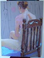 Brown chair and woman, 24 x 32 on masonite